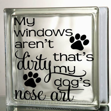 Dogs nose art glass block decal tile mirrors diy decal for glass