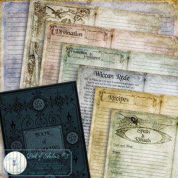 Book of Shadows, Journal Pages, Printable Journal, Printable Stationery, Paper Craft Supplies, Instant Download - 'The Witches Way'