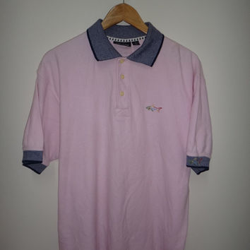 New Year Sale GREG NORMAN Vintage Polo T Shirt Shark Surf Beach Designer