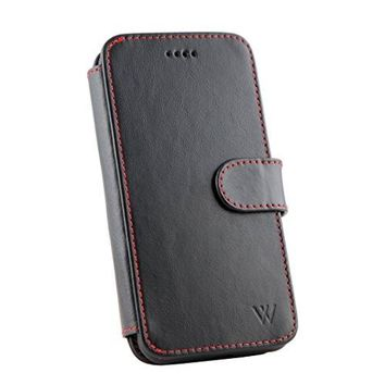 WILKEN iPhone X Leather Wallet Detachable Phone Case | 100% Top Grain Cowhide Leather iPhone X Wallet Case | Car Vent Mount Included | Magnetic Locking System | Kickstand Feature | Black and Red