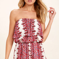 Billabong New Story Red Print Strapless Romper