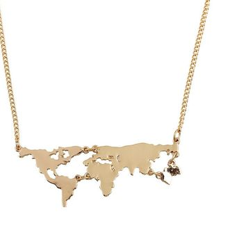 World Map Combination Pendant Necklace For Women
