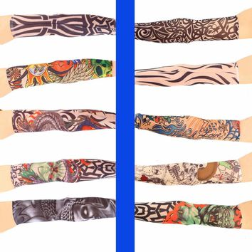 Hot Fake Tattoo Elastic Arm Sleeve Arm Stockings Sport Skins Sun Protective Waterproof Unisex Shoulder Tattoo Sleeve Men Women