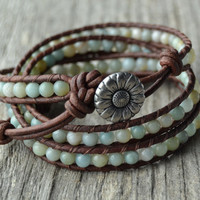 Triple wrap beaded leather bracelet. Bobo chic jewelry. Flower amazonite beads on brown leather