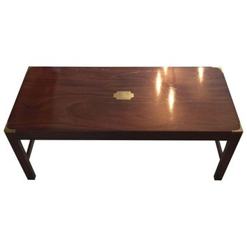 Pre-owned Mahogany & Brass Campaign Style Coffee Table