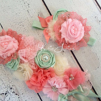 Pink, Coral, Mint Sash- Ivory, Bridal Sash, Photo Prop, Belt, Wedding, Maternity, Baby Girl, Flowers