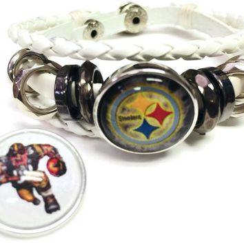 NFL Pittsburgh Steelers Bracelet Game Face &  Cool Smokey Logo Football Fan White Leather  W/2 18MM - 20MM Snap Charms New Item