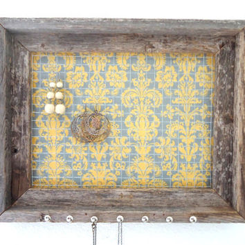 Barnwood Jewelry Organizer Frame Yellow Grey Damask Fabric Nailhead Necklace Hooks