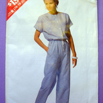 Women's Jumpsuit Misses' Size 16, 18, 20, 22, 24 See and Sew by Butterick 6401 Sewing Pattern Uncut