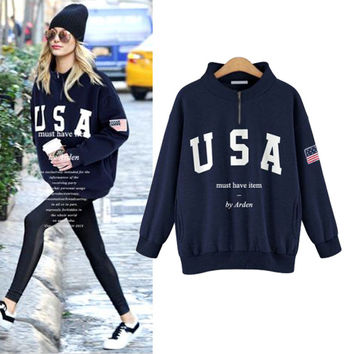 Fall Winter Fashion 2016 Letter Printed Long Sleeve Hoodie [9068273796]