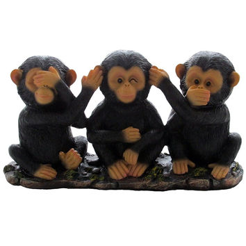No Evil Monkeys Figurine for African Jungle Safari Decor Sculptures or Chimps...