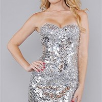 Jovani Silver Sequin Mini Dress