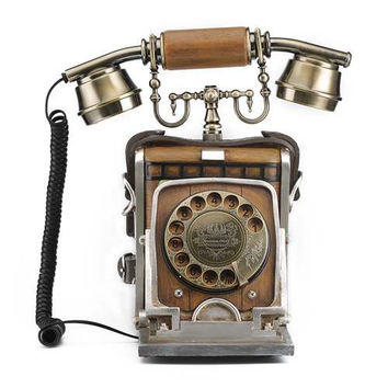 LNC Antique Reproduction Telephone with Push Button Dial, Brown Finish, Classic