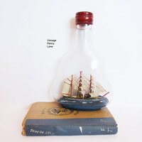 Vintage Ship In A Bottle, Glass Bottle, Beach House / Nautical Decor