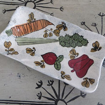 Vintage Tray Condiment Tray Lefton Tray T 16 Norcrest China Ceramic Dish with Vegetable Carrots and Celery Serving Tray Butter Dish