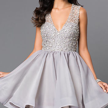 V-neck Baby Doll Terani Homecoming Dress  H0157