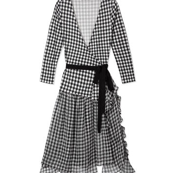 Diane Von Furstenberg Riviera Gingham Wrap Dress - Silk-Chiffon Belted Dress