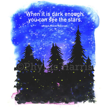 Starry Night In The Woods - Available with or without the Ralph Waldo Emerson quote