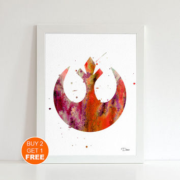 Rebel Alliance Star Wars print, watercolor illustration, Resistance, geek art print, Star Wars  art  print, Light side