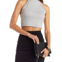 Heather Gray Sleeveless Mock Neck Crop Top by Charlotte Russe
