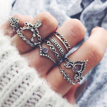 10 Pcs Fashion Crown Retro Diamond Mid Finger Knuckle Ring Set Women Jewelry