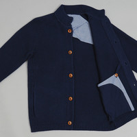folk - button up cardigan navy