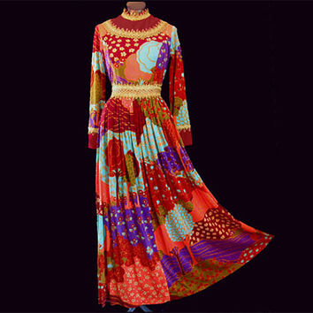 Vintage 70s Maxi Dress Fantastic Psychedelic Print Lanzillotti 12