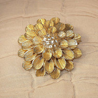 Vintage Gold Tone Dahlia Brooch with Pave Set Crystal Center