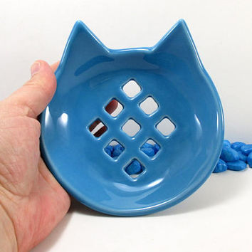 Blue cat soap dish, cat soap dish, ceramic cat soap dish, pottery cat soap dish, clay cat soap dish, cat soap holder, cat soap saver, Blue