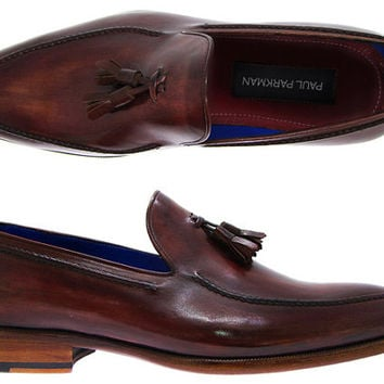 Paul Parkman Men's tassel loafer burgundy leather upper and leather sole