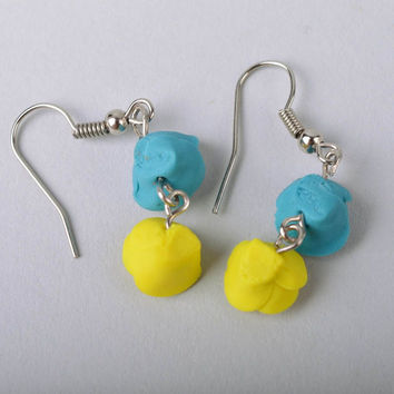 Handmade designer dangle earrings with blue and yellow cold porcelain roses