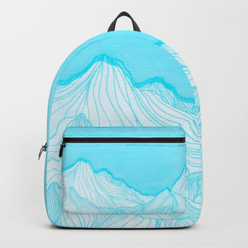 Lines in the mountains - Aqua Backpacks by ViviGonzalezArt