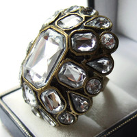 Vintage enormous diamante rhinestone statement ring, Renaissance style, bronze and faux diamonds, amazing costume jewellery, #176.
