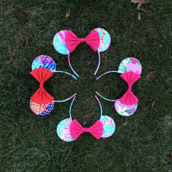 Lilly Pulitzer Teddy Bear Ears Headband - Disney inspired Mickey mouse / Minnie mouse ears in 20+ prints