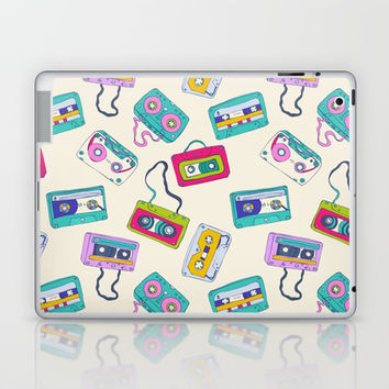 Vintage Cassette Tape Pattern Laptop & iPad Skin by Smyrna