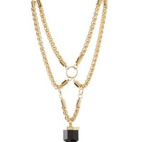Gold Harnessed Chain & Faceted Stone Bib Necklace by Charlotte Russe