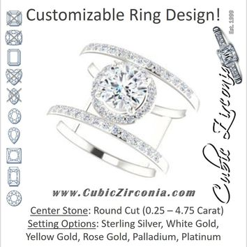Cubic Zirconia Engagement Ring- The Jersey (Customizable Round Cut Halo Design with Open, Ultrawide Harness Double-Pavé Band)