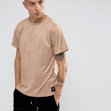 Sixth June Oversized T-Shirt In Stone Suedette at asos.com