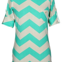 Chevron Top with Pocket - Mint