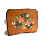 Vintage Tole Napkin Holder, Wood, Shabby Chic, Hand Painted, Floral, Letter Holder, Vintage Home Decor, Farmhouse,
