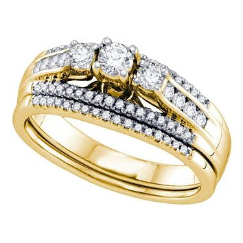 14k Yellow Gold Women's Round 3-stone Diamond Wedding Bridal Engagement Ring Band Set 1/2 Cttw - FREE Shipping (US/CAN)