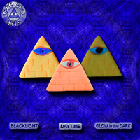 Halloween Special Minimalist Neon Orange Glow in the Dark Illuminati Pyramid Pendant EyeGloArts Handmade Blacklight jewelry UV wearable Art