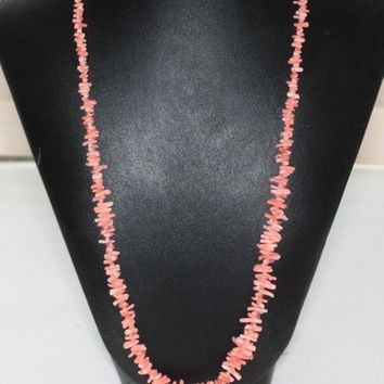 Vintage Branch Coral Necklace Graduated Beads Light Salmon Pink