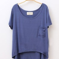 Irregular Hem Loose Modal T-shirts with Short Sleeves