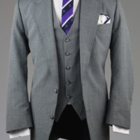 Vintage Gray Pinstripe Wool 3 Piece Suit 46 R Monkey Suit