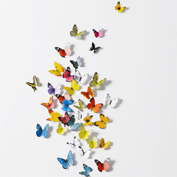 19PCS 3D PVC Magnet Butterflies DIY Wall Sticker Home Decor