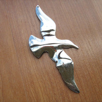 Seagull pendant large silver tone jewelry craft supply