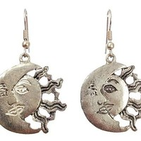Surgical Steel Dangle Earrings Sun and Moon Silver Tone