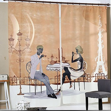 New 1.4M*2.7M Cartoon Modern girl curtain High-end Cafe 3D digital printing Retro Hotel Curtain Bar Vertical Curtain