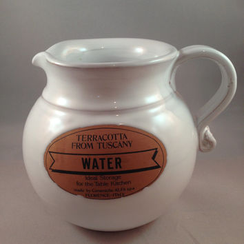 Italian Water Jug, Terracotta From Tuscany Water Jug Made By Ceramiche ALFA Spa Florence Italy